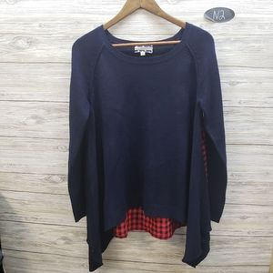 Comme Toi Navy Sweater With Red & Black Plaid Back